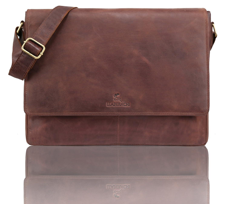 LEADERACHI Men's Hunter Leather Muskat Messenger Bag (450 G)