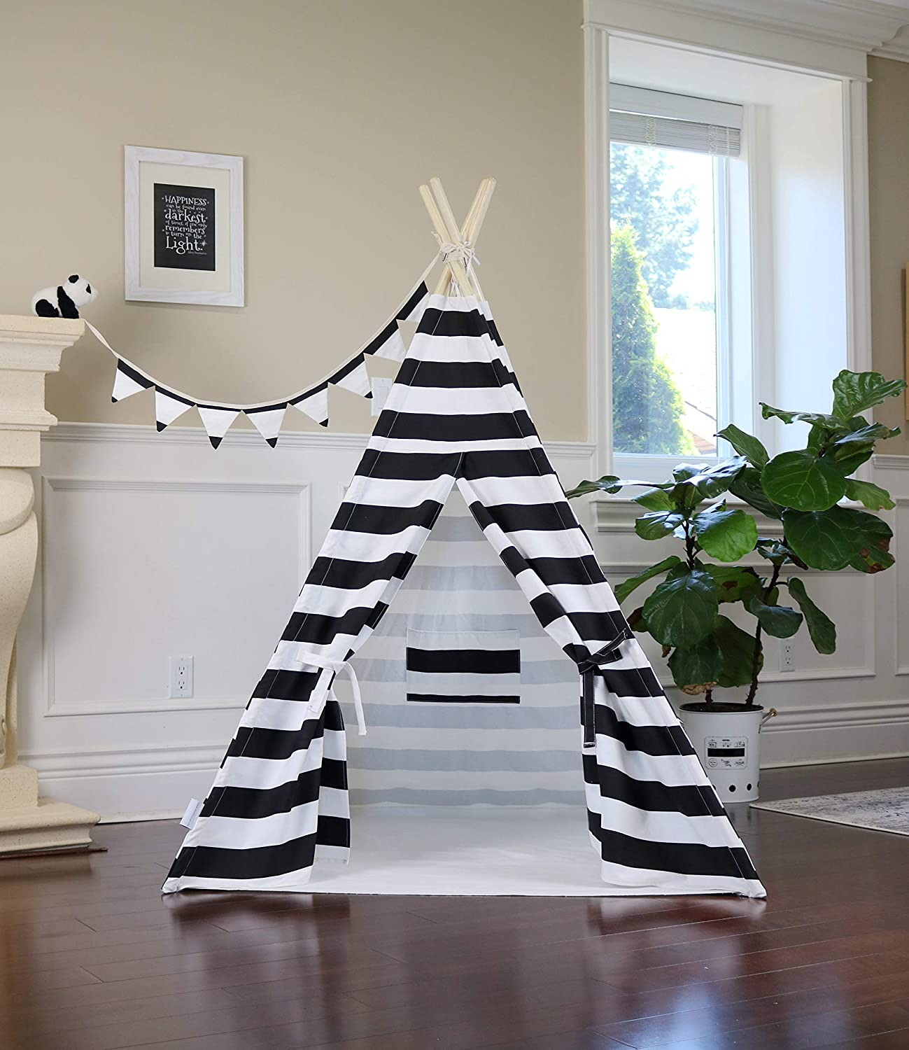 Play Tent Play House Grey Chevron Teepee from Canada with Floor Flags Banner and Storage Bag Pocket Poles LED Light Kids Room Decor