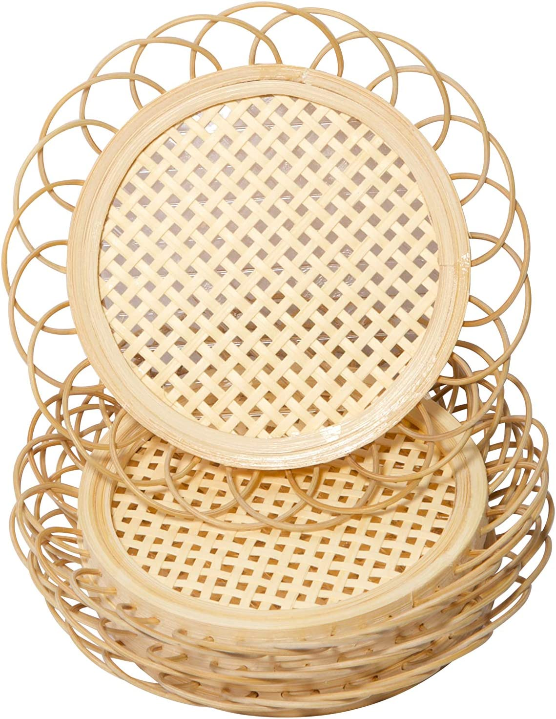 SoBoho Natural Handmade Woven Cottagecore Bamboo Rattan Coasters for Drinks - Neutral Minimalist Wicker Boho Indie Style Coasters for Home Kitchen Living Room Coffee Table Decor Accessories - Set of 4