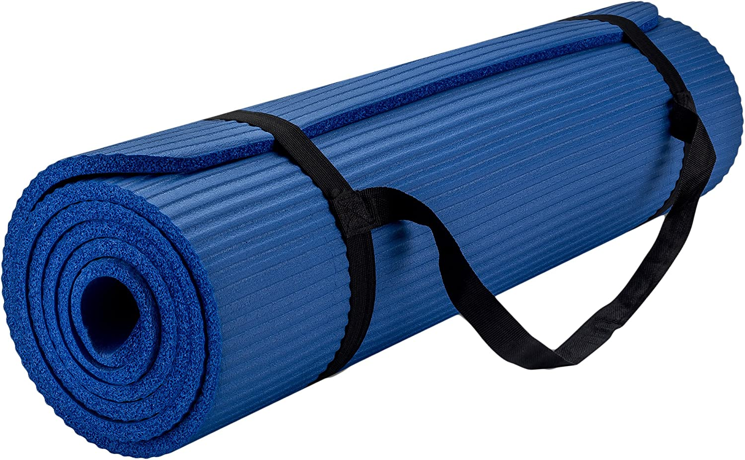 New Life E0-YO4O-VHAS Yoga Mat with Carrying Travel Bag and Strap Thickness Thick Nbr Multiple Use Exercise, Blue