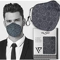 Vilado Reusable Fashion Face Mask With Elastic Ear Loops & Silicon Clips (Grey)