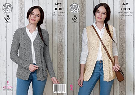 King Cole Ladies Knitting Pattern Womens Cable Detail Cardigan
