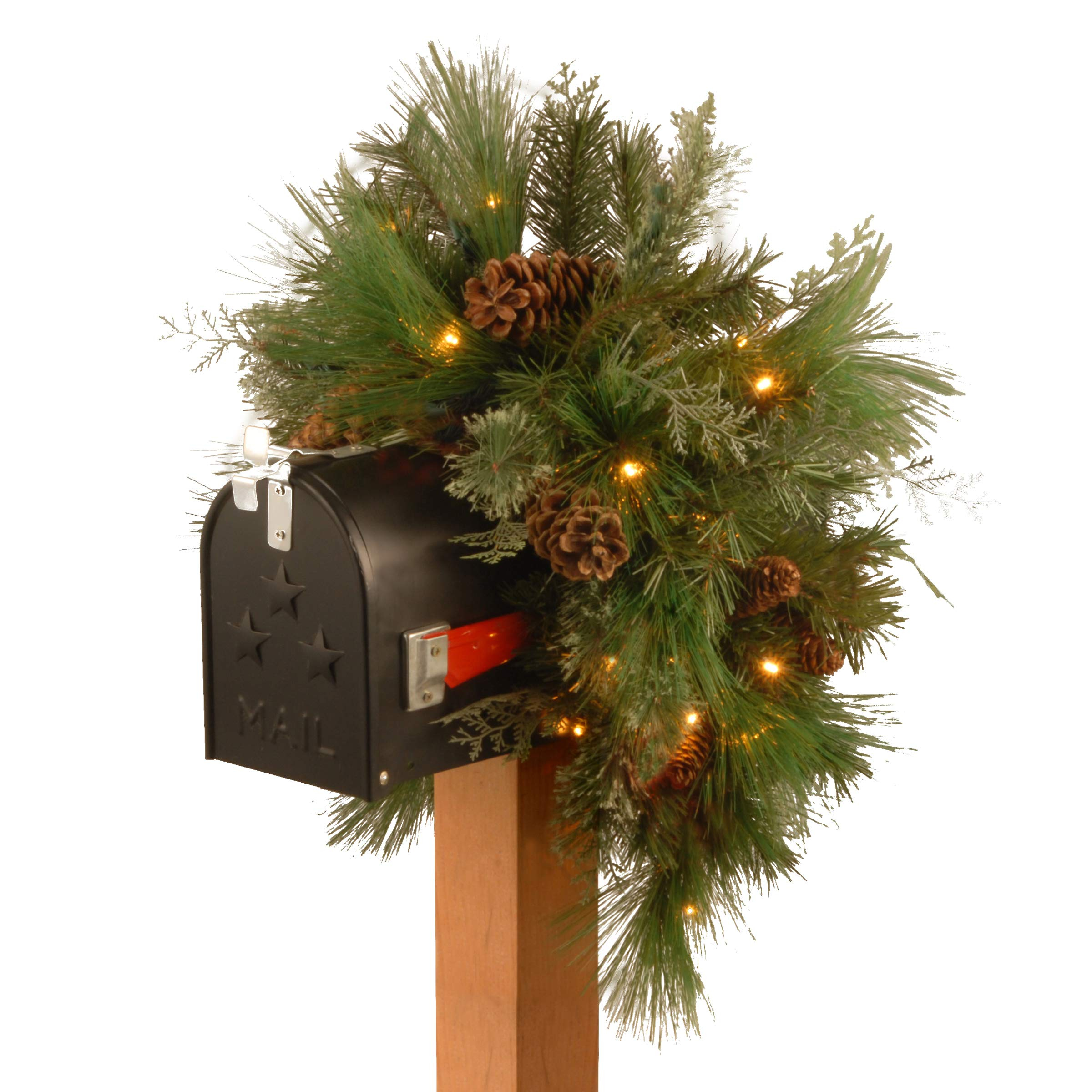 National Tree 36 Inch Decorative Collection White Pine Mailbox Swag with 63 Battery Operated Soft White and Red LED Lights (DC13-116-36MB-1)