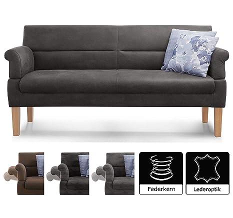 Cavadore 3-Sitzer Sofa Kira mit Federkern / Sitzbank für Küche, Esszimmer / Inkl. Armteilfunktion / 189 x 94 x 81 / Kunstlede