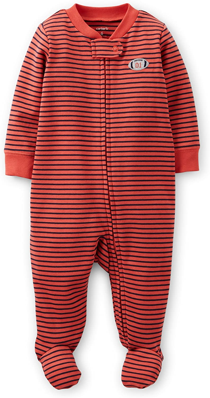 Preemie, Red Stripe//Football Carters Footed Sleep /& Play