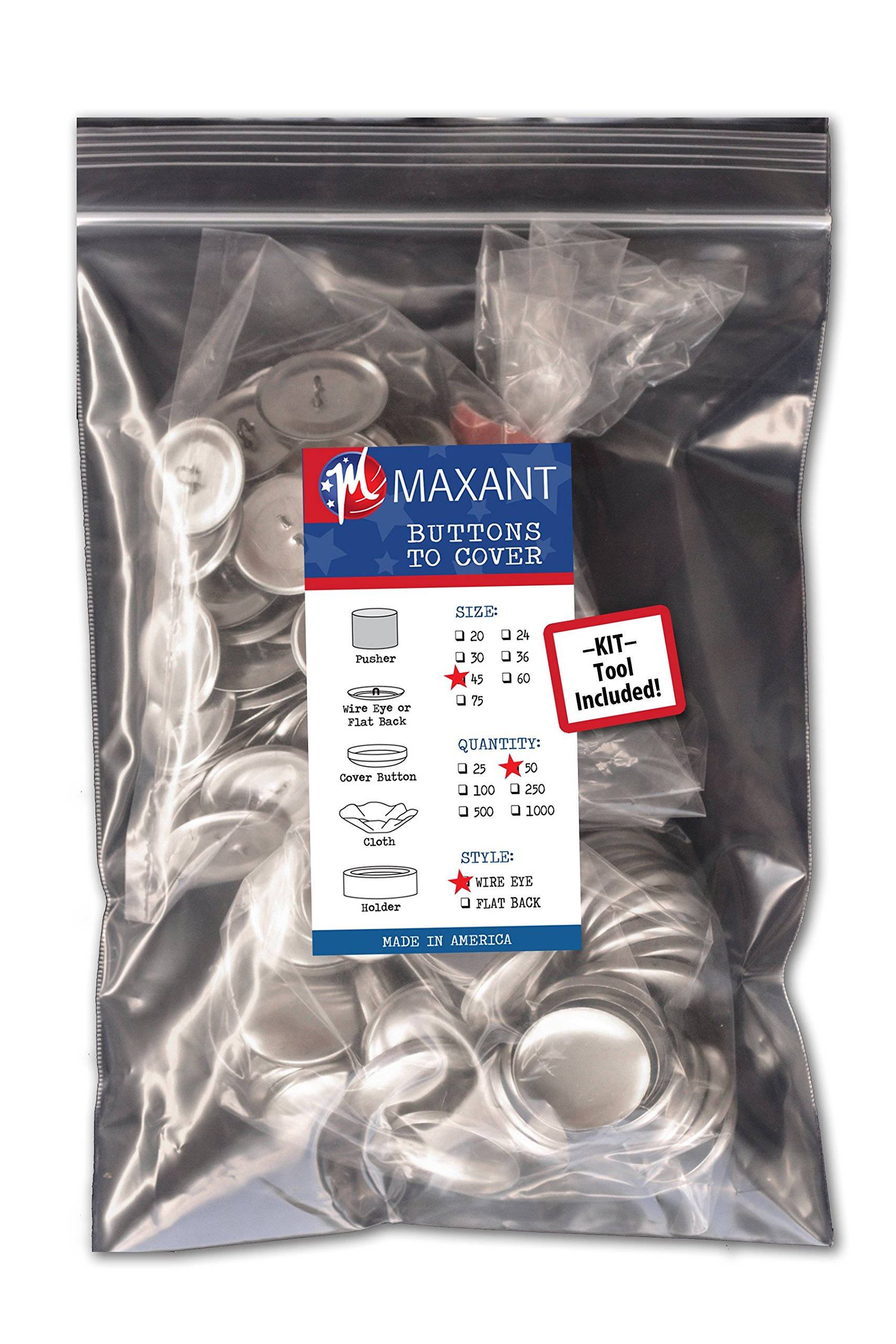 50 Buttons to Cover - Made in USA - Self Cover Buttons with wire eyes - size 45 with Tool by M MAXANT