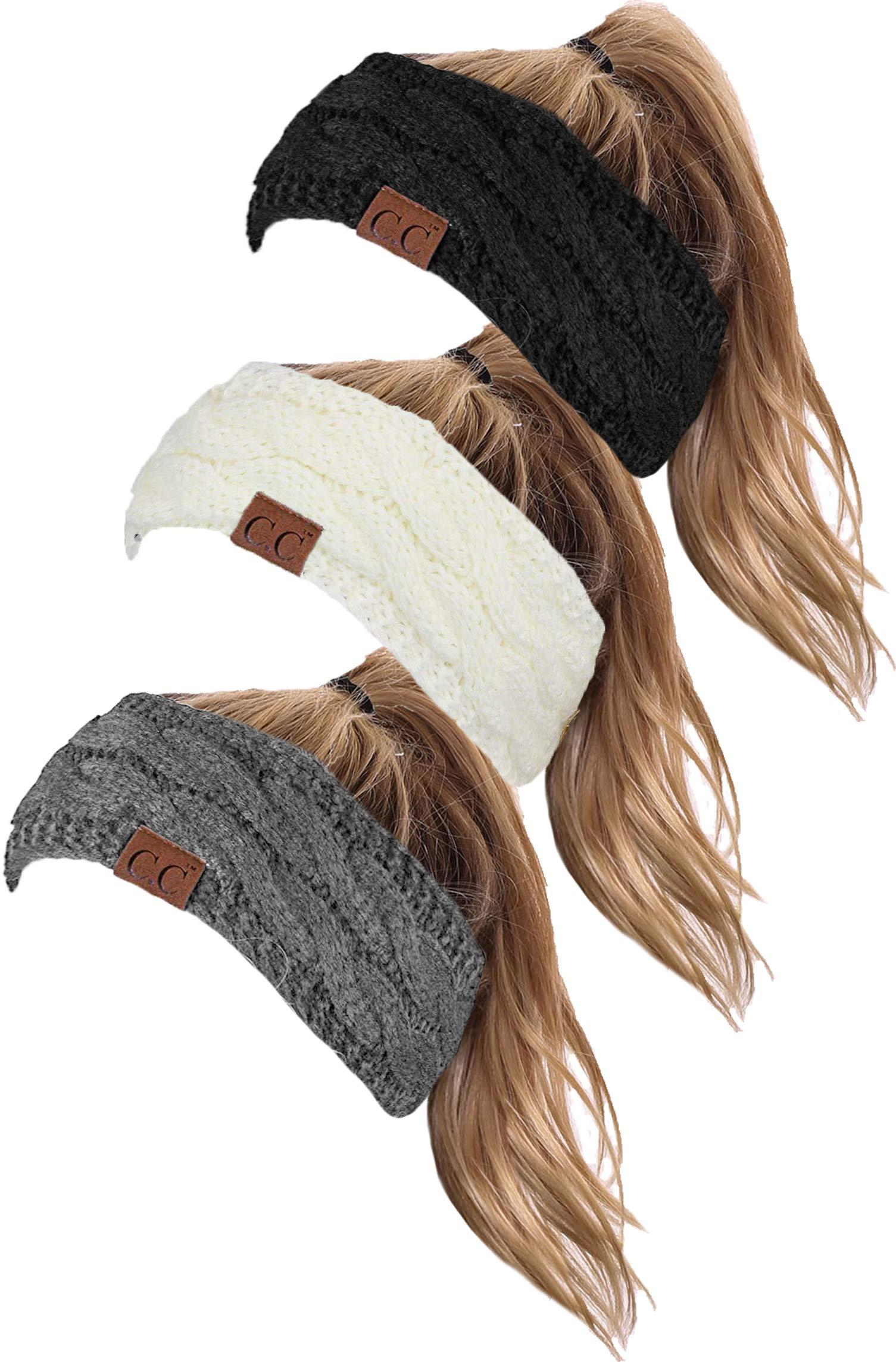 HW-6033-3-20a-062551 SOLID Headwrap Bundle - Black, Ivory, Heather Grey (3 Pack)