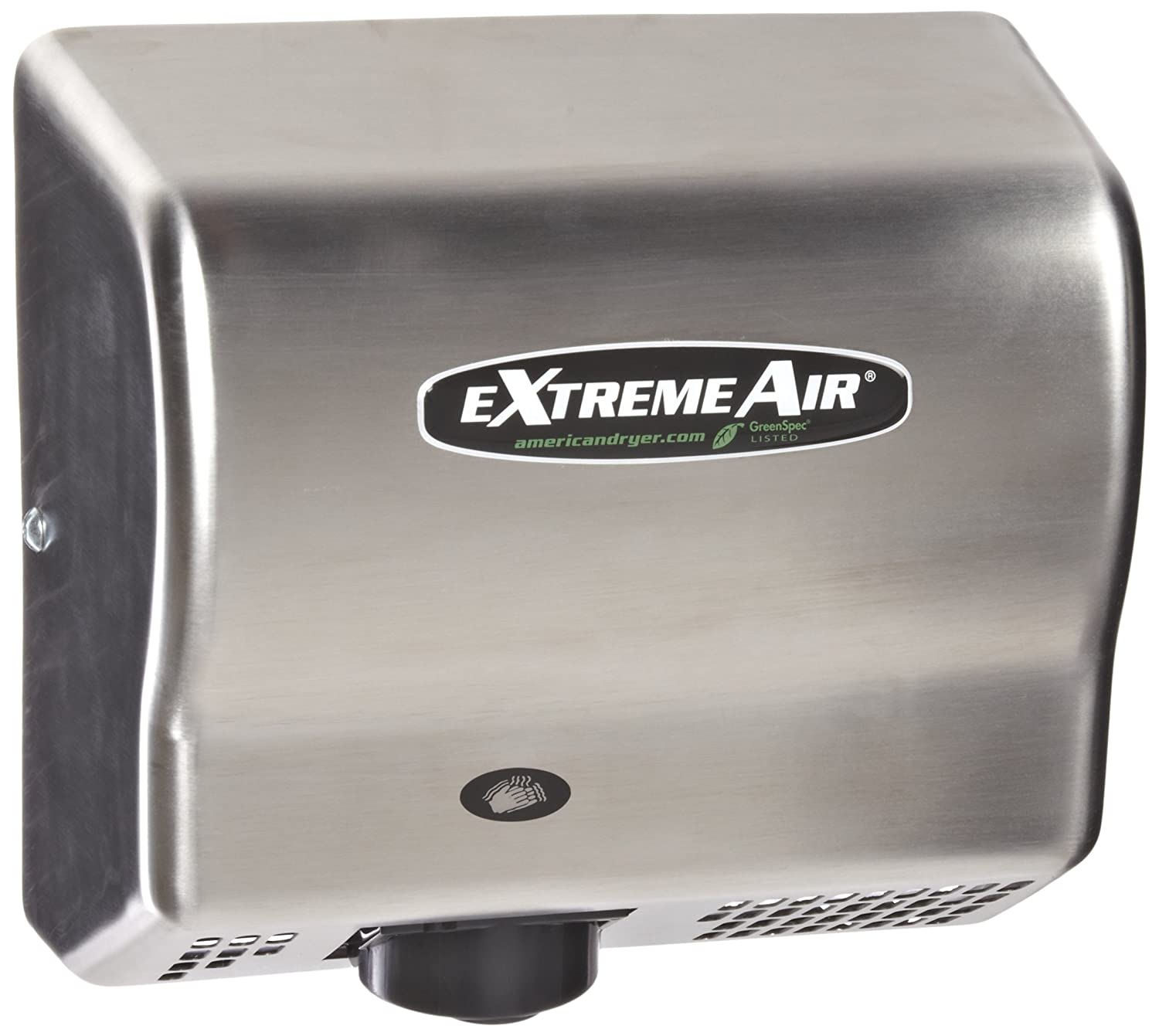 Image of American Dryer ExtremeAir EXT7-SS Stainless Steel Cover High-Speed Automatic Hand Dryer, 12-15 Second Dries, 100-240V, 540W Maximum Power, 50/60Hz Hand Dryers