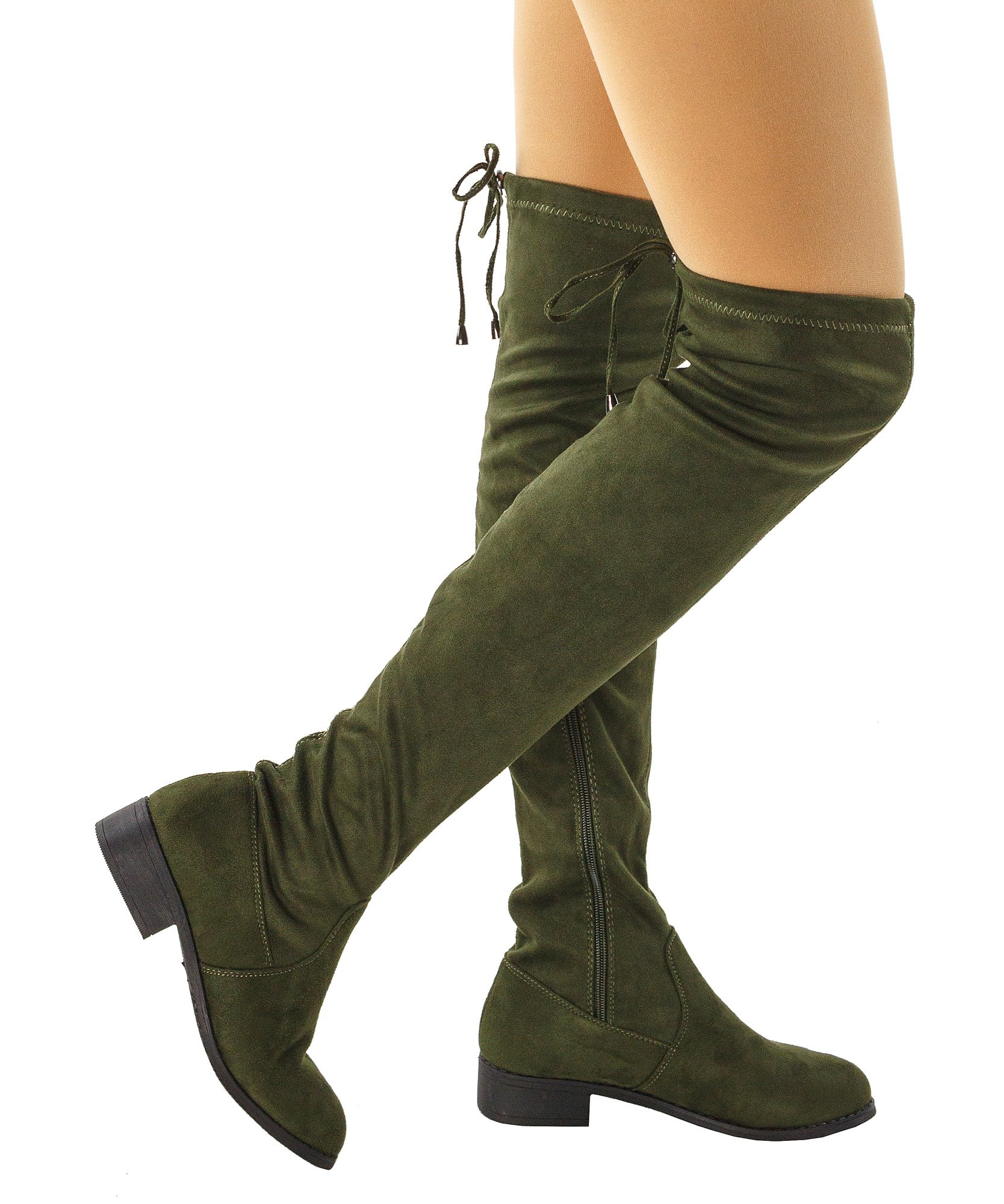 RF ROOM OF FASHION Women's Faux Suede Back Tie Fitted Flat to Low Chunky Heel Over The Knee High Boots Olive (8)