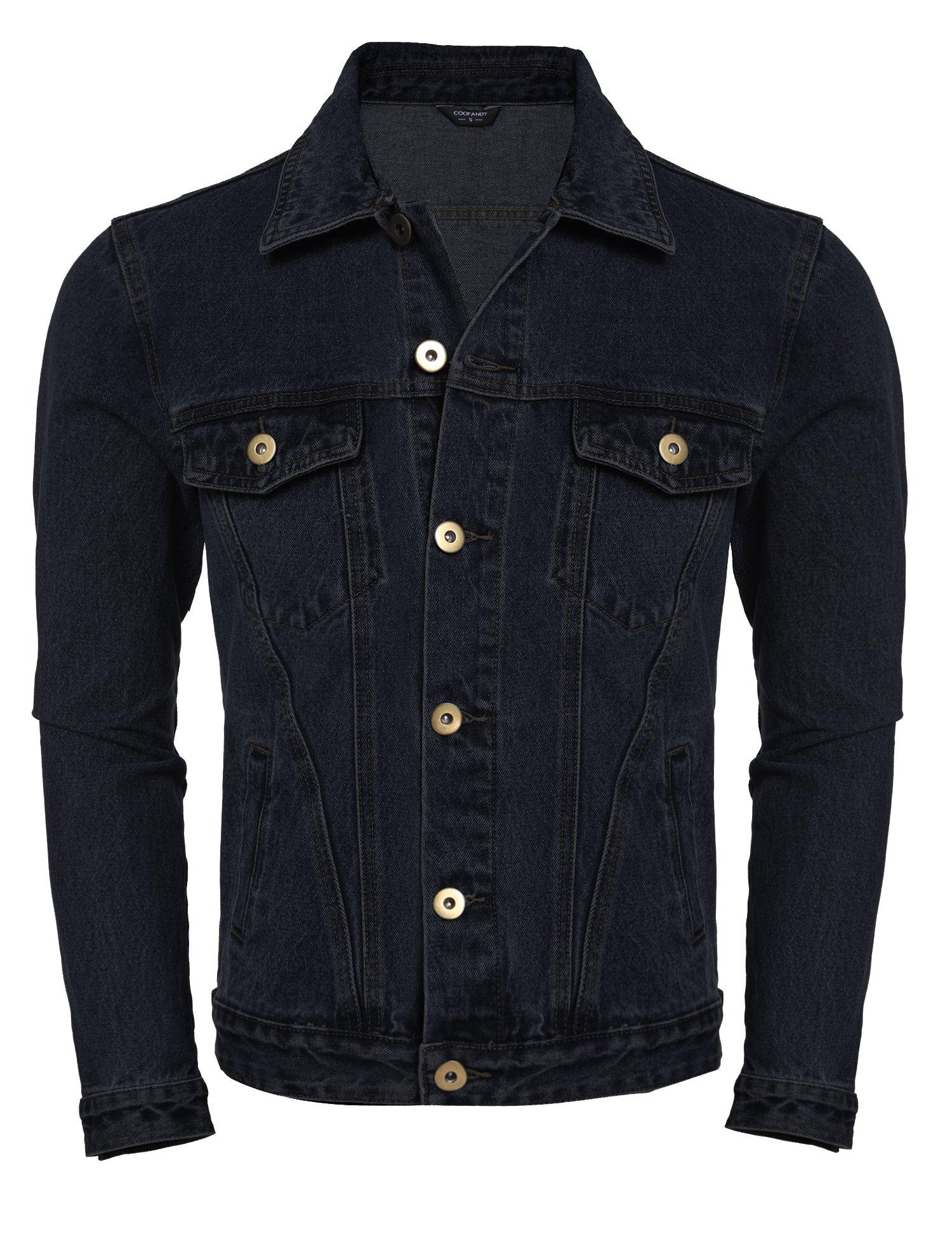 COOFANDY Men's Rugged Wear Unlined Jean Denim Jacket (Medium, Black)