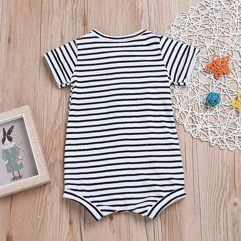 Adagod Cozy Newborn Infant Baby Girl Short Sleeve Striped Romper Jumpsuit Outfits Clothes