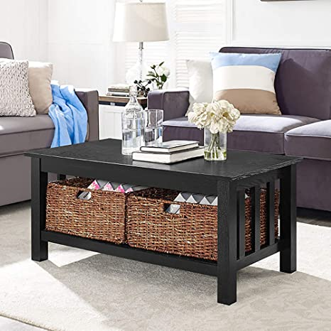 Pleasing We Furniture Az40Mstbl Rustic Wood Rectangle Coffee Accent Table Storage Baskets Living Room 40 Inch Black Bralicious Painted Fabric Chair Ideas Braliciousco