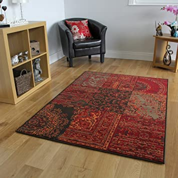 The Rug House Tapis Traditionnel Rouge, Marron & Gris - 7 Tailles ...