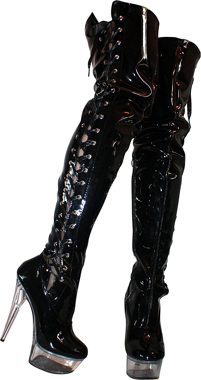 Laqu/ées Noires Erogance A4777 Cuissardes /à Plateforme Tailles europ/éennes 37-44 Talon DE 15 cm