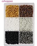 eshoppee 6/0, 4mm 300 gm Approx 5500 Glass Seed Beads for Jewellery Making kit Art and Crafts Materials for Embroidery Necklace Bracelet Earring Making Materials DIY kit (Black/White/Gold)