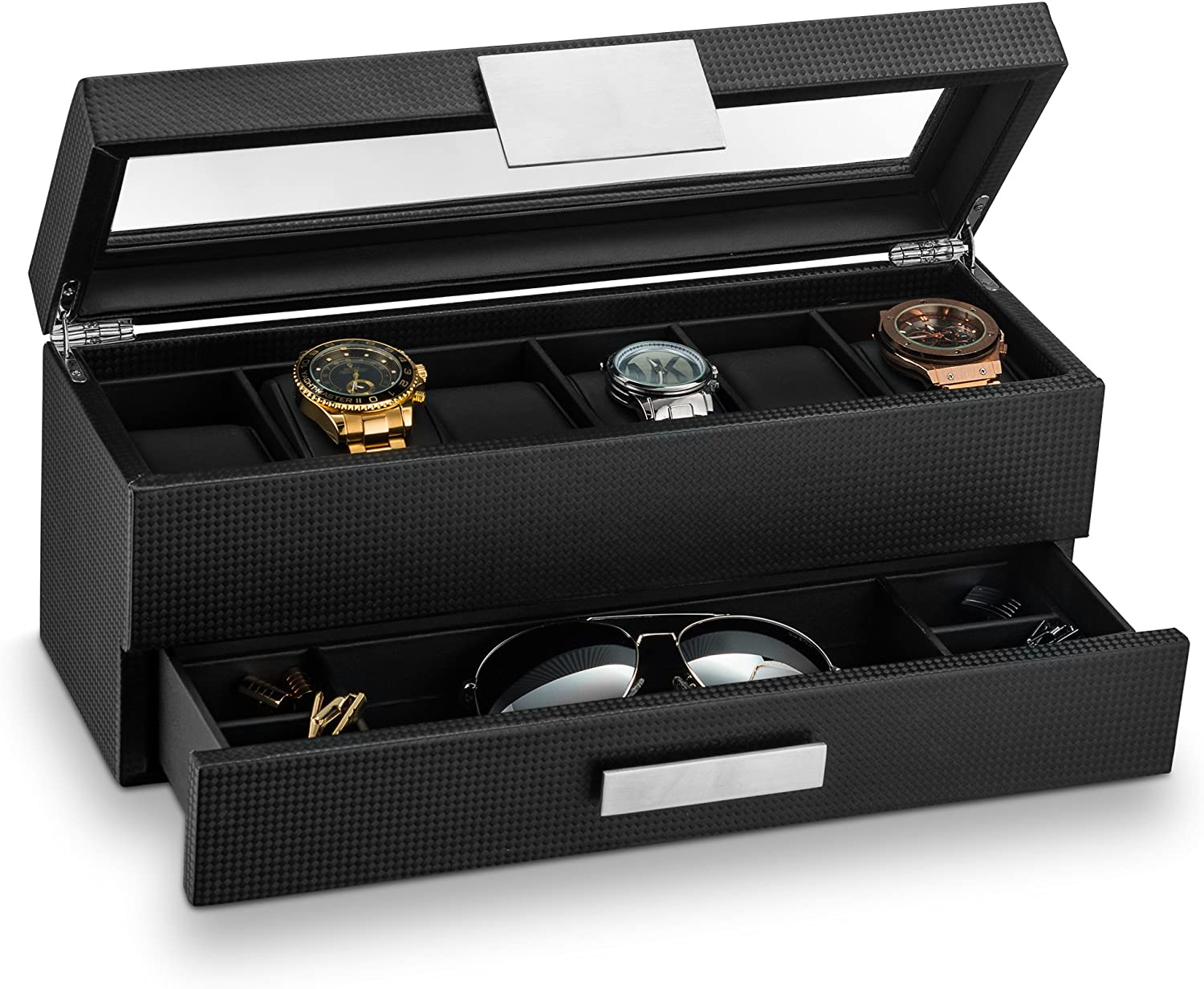 Glenor Co Watch Box with Valet Drawer for Men - 6 Slot Luxury Watch Case Display Organizer, Carbon Fiber Design -Metal Buckle for Mens Jewelry Watches, Men's Storage Holder Boxes has a Large Glass Top: Home & Kitchen