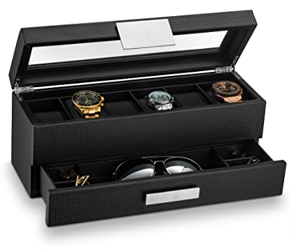 Amazoncom Glenor Co Watch Box with Valet Drawer for Men 6 Slot