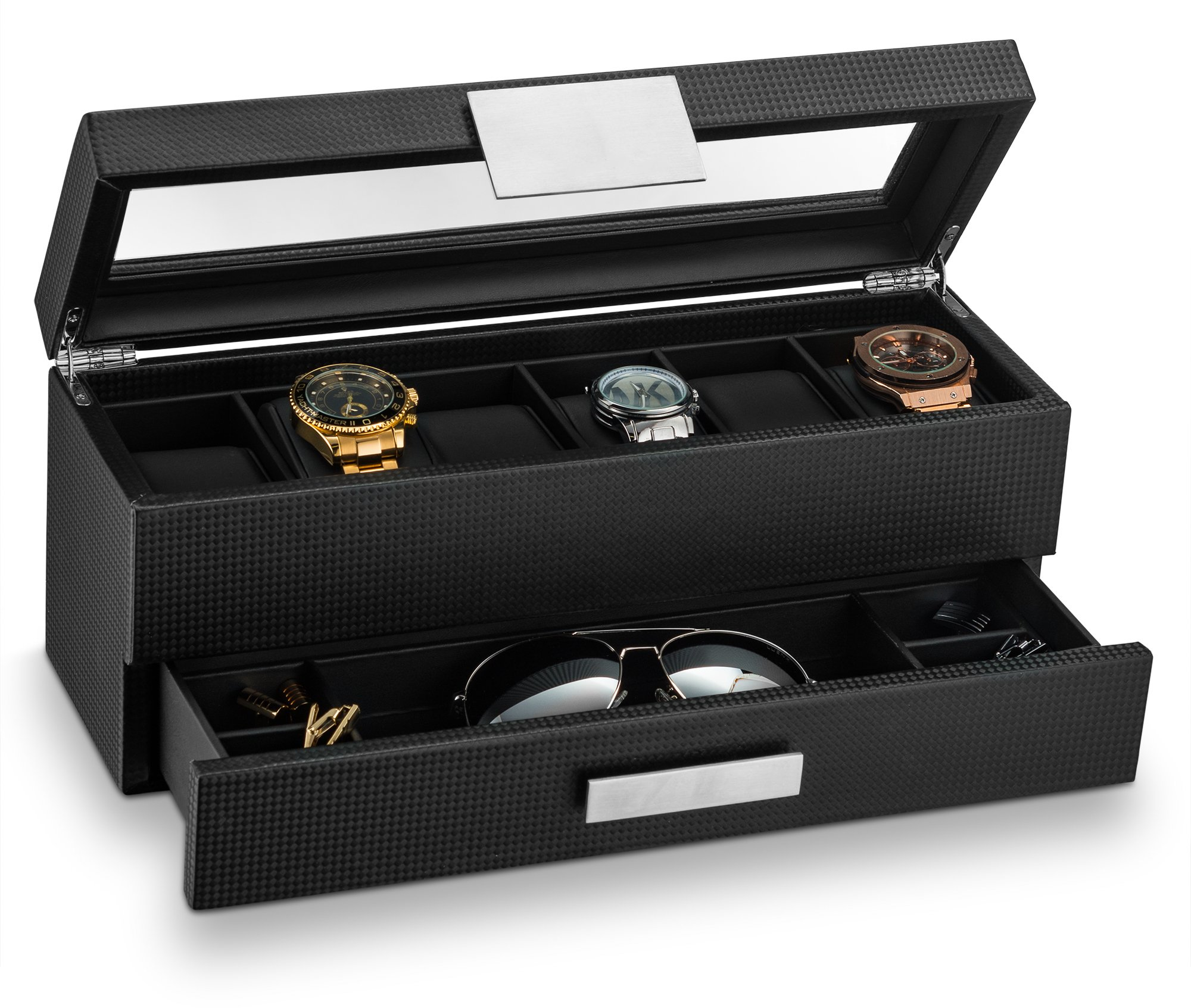 Glenor Co Watch Box with Valet Drawer for Men - 6 Slot Luxury Watch Case Display Organizer, Carbon Fiber Design -Metal Buckle for Mens Jewelry Watches, Men's Storage Holder Boxes has a Large Glass Top by Glenor Co