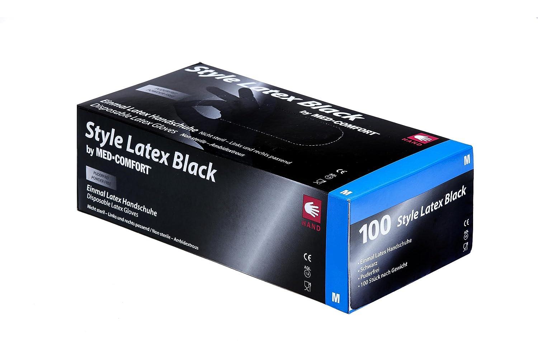Style lá tex Black de lá tex guantes desechables 14 –  028, sin talco, Negro, polymerbeschichtet, unsteril, 240 mm de largo 240mm de largo Ampri Handelsges. mbH