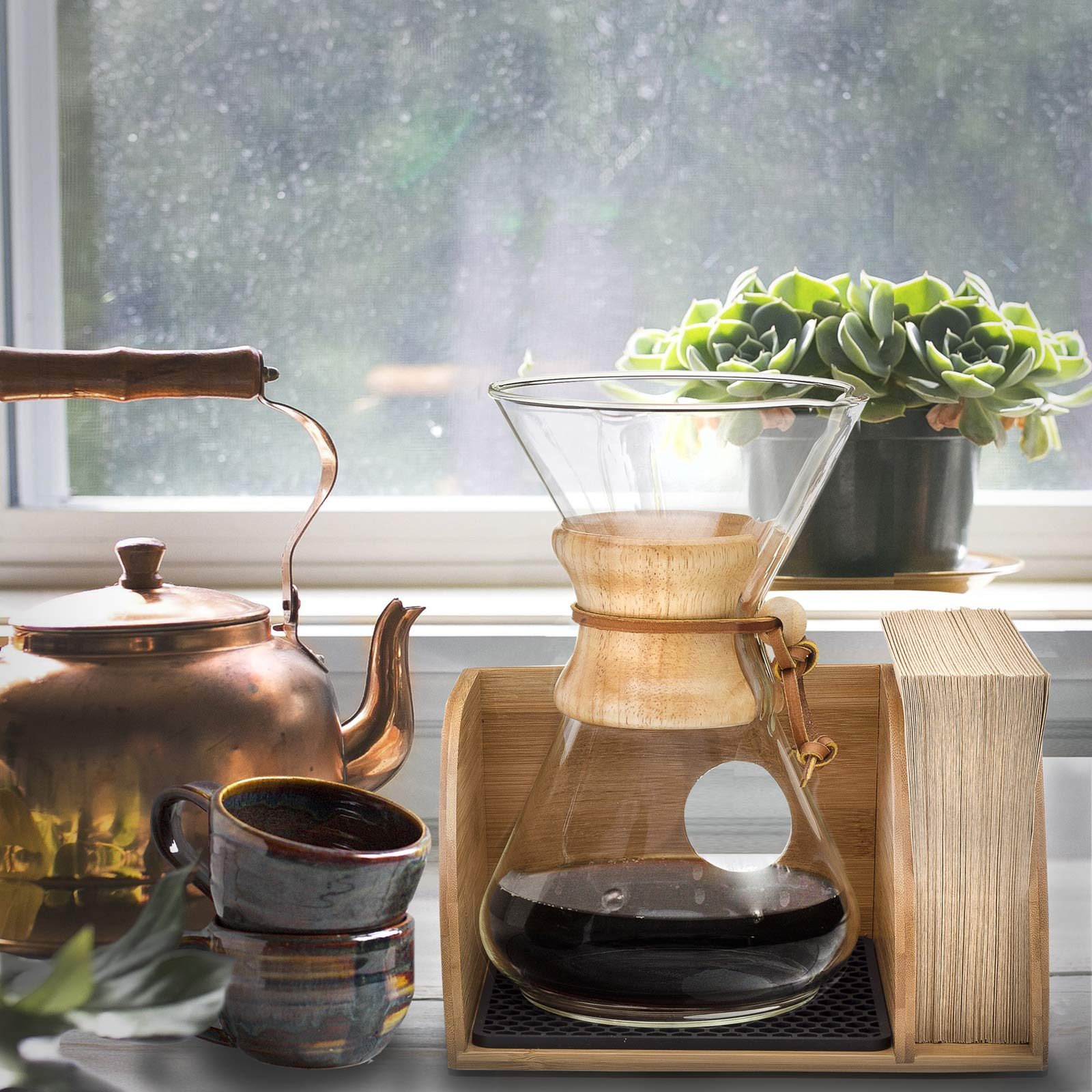 Chemex Coffee Maker Organizer with Silicone Mat | Eco-friendly, Durable & Water Resistant Bamboo | Designed for Baratza Encore Burr Grinders, Chemex Coffee Makers & Chemex Filters by Drip & Brew Coffee Company (Image #5)