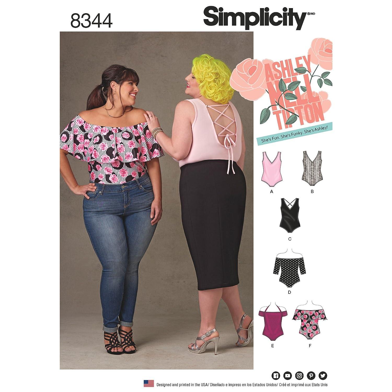Simplicity Pattern 8344 F5(18W-20W-22W-24W-26W)プラスサイズのニットボディースーツby Ashley Nell Tipton、ペーパー、ホワイト、22 x 15 x 1 cm   B06WPBTTJ3