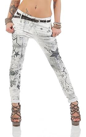 ZARMEXX Pantalones de las mujeres con los pantalones vaqueros holgados novio cinturón de los pantalones de Jeggings Chinos estrellas -Imprimir