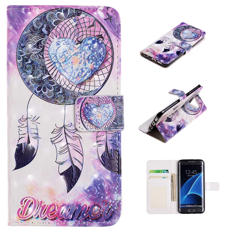XTstore Funda Samsung Galaxy S7 Edge, Atrapasueños Carcasa Libro de Cuero con Correa de Mano Cubierta de Billetera Protector Suave Silicona Tapa con ...