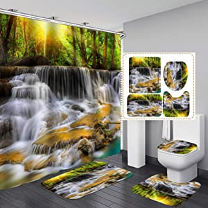 """Fashion_Man 16PCS/Set 3D Waterfall Forest Waterproof Shower Curtain Scenery Polyester Bath Curtain Natural Landscape Bathroom Rugs Toilet Lid Cover Bathroom Decor +12 Hooks, 72""""x72"""", Style 3"""