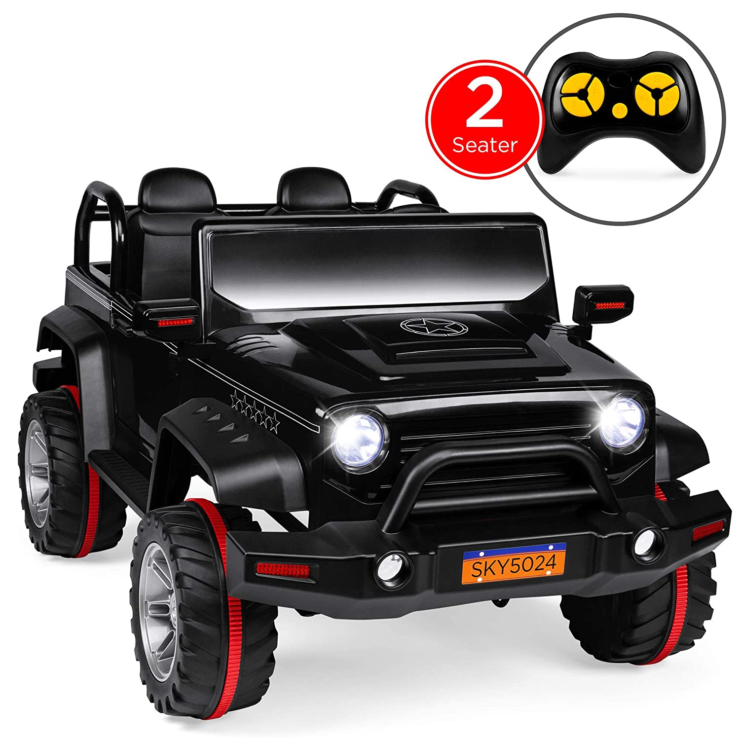 Best Choice Products Kids 12V RC 2-Seater Ride-On Truck with, LED  Lights/Sounds, MP3, Black