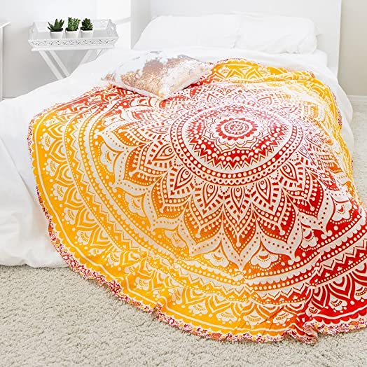 Popular Handicrafts Kp732 2x Round Tapestry Roundie Indian Mandala Beach Throw Tapestry Hippy Boho Gypsy Cotton Table Cover, Round 70 Red fire