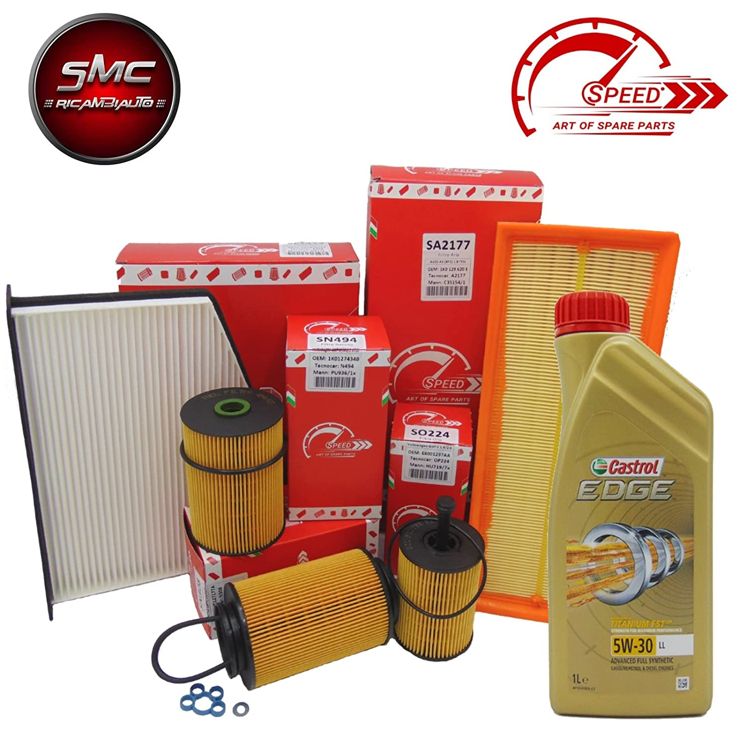 Kit de mantenimiento con 4  filtros originales Speed by SMC + 5  litros de aceite de motor Castrol Edge 5  W30  (so224  O so412, sa2276, srn491, se1564)