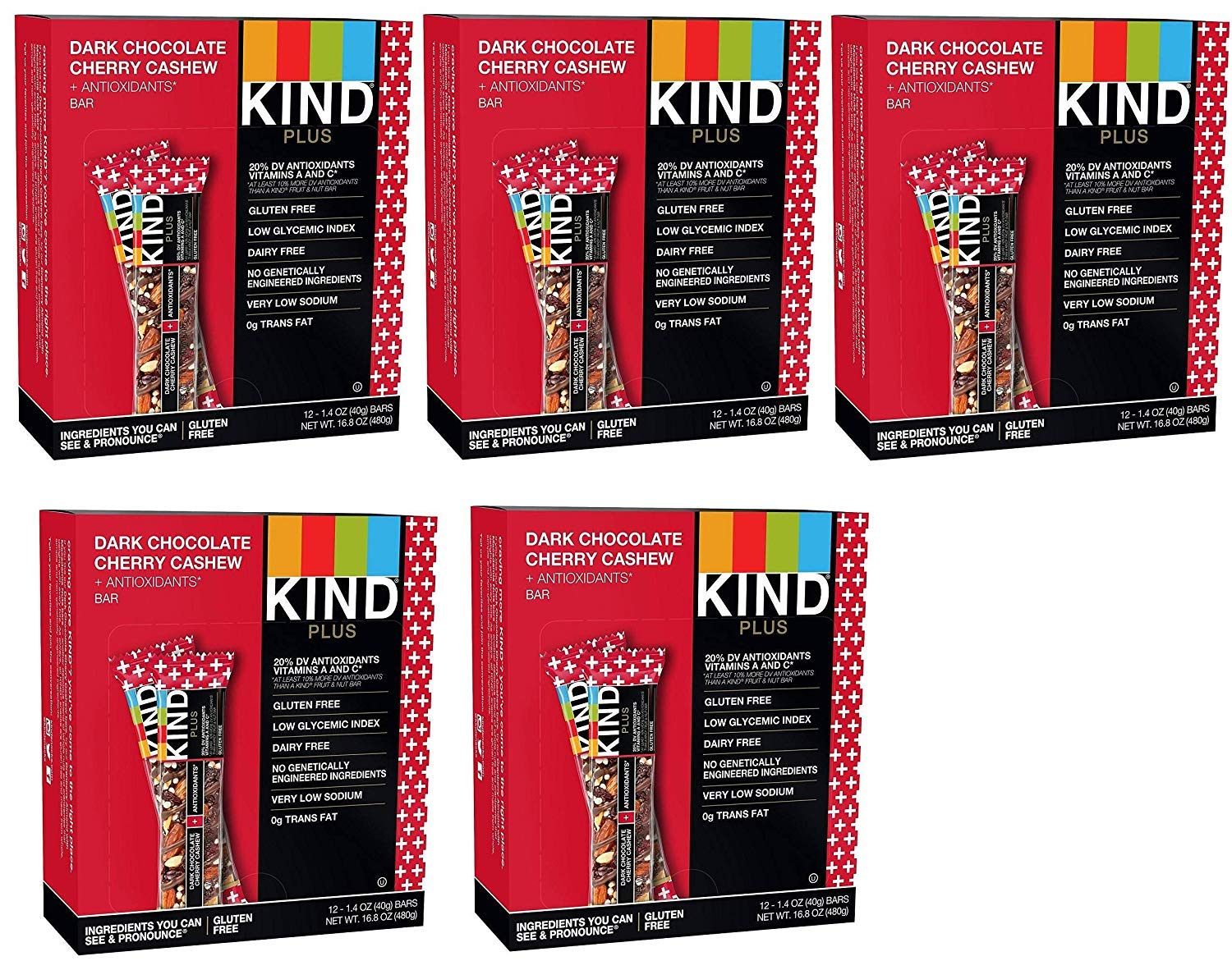 KIND Bars, Dark Chocolate Cherry Cashew + Antioxidants, Gluten Free, 1.4oz (60 Bars)
