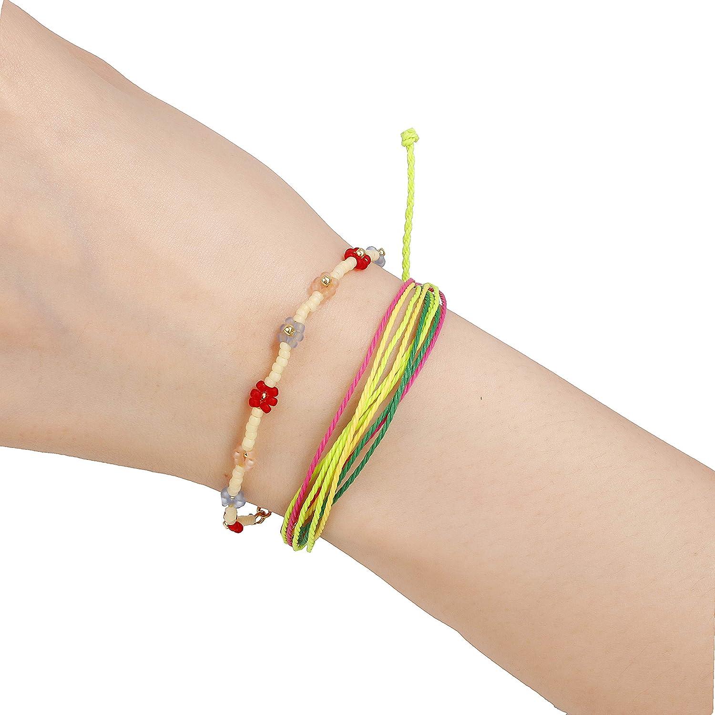 Handmade Waterproof Braided Bracelet Wax Coated Rope Wave Charm Beach Bracelets set Jewelry,Adjustable Band