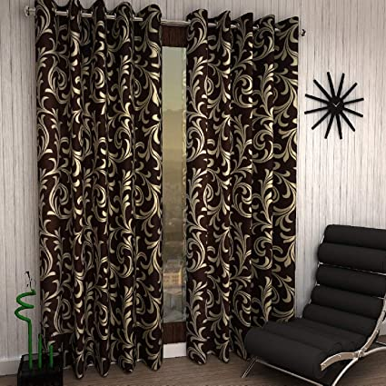 Home Sizzler Modern 2 Piece Eyelet Polyester Window Curtain Set - 5ft, Brown
