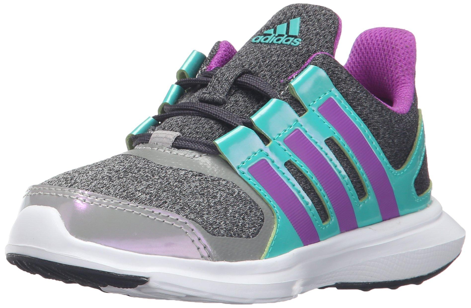 new arrival 1843a e000b Galleon - Adidas Performance Girls Hyperfast 2.0 K Running Shoe, Dark Grey  HeatherShock PurpleShock Mint, 5 M US Big Kid