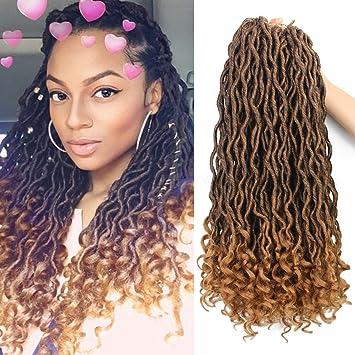 Eerya 6Packs Lot Wavy Goddess Faux Locs Crochet Synthetic Braiding Hair 18  inch Soft Curly dec209edc735