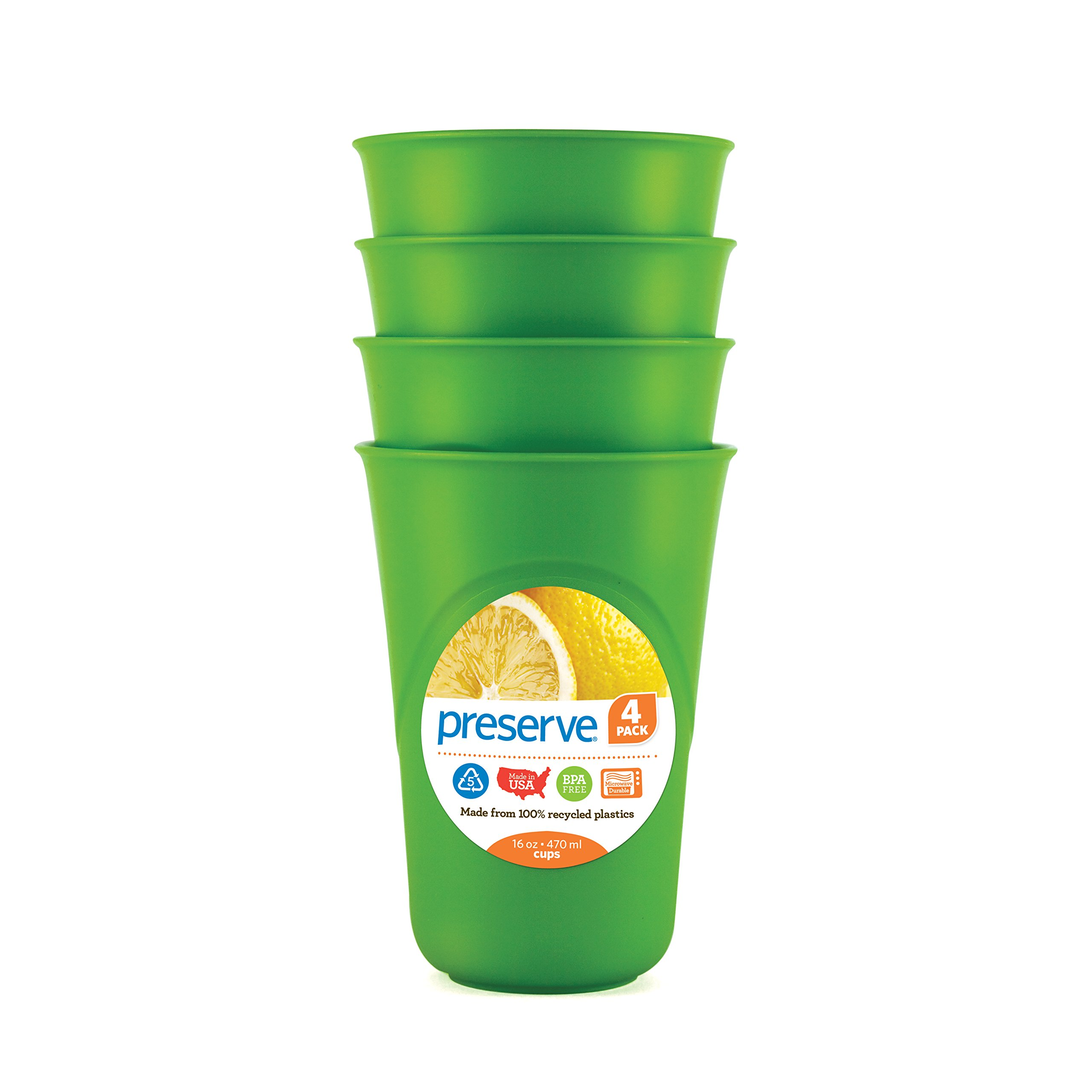 Preserve Everyday 16 Ounce Cups, Set of 4, Apple Green by Preseve