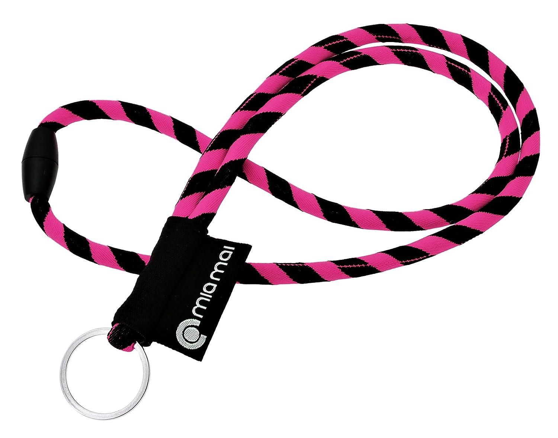 mia mai Tubular Lanyard (amarillo/negro, 45cm) Cordón de llaves para el cuello con cierre de seguridad, llavero, colgante para llaves mia mai Buttons