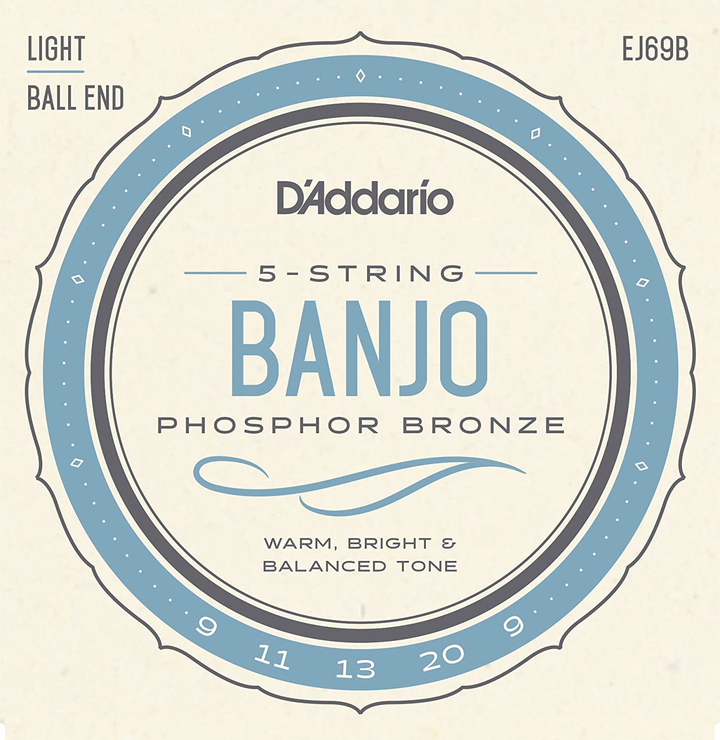 D'Addario EJ69B Phosphor Bronze 5-String Ball-End Banjo Strings, Light, 9-20 D'Addario