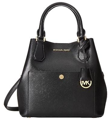 f67bab68a22d Michael Kors Greenwich Medium Grab Bag BLACK RED CHILI  Handbags  Amazon.com