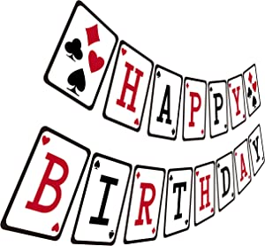 Casino Birthday Banner, Casino Night Poker Happy Birthday Sign, Adult Red Black Bday Party Bunting