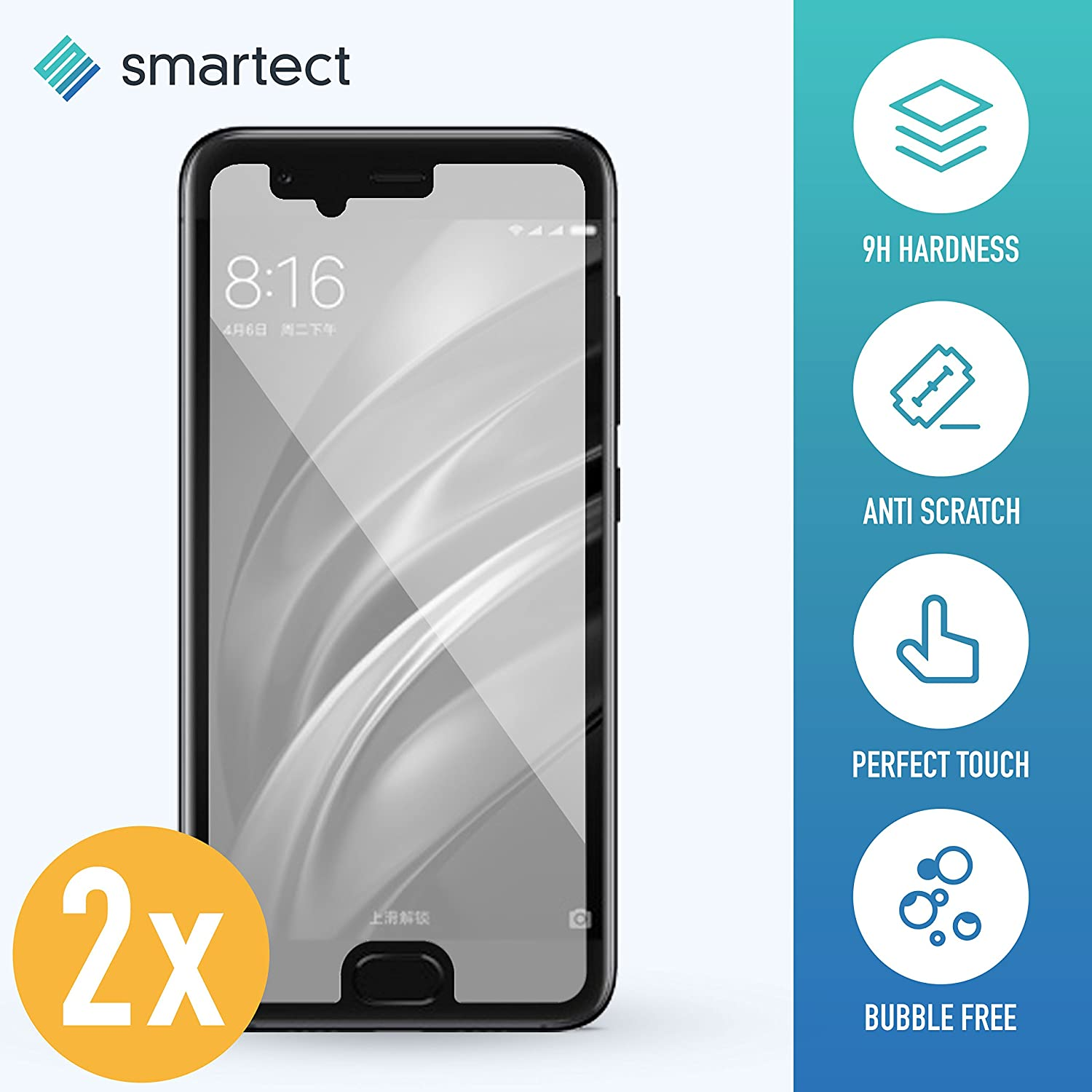 2x Tempered Glass Film for Xiaomi Mi 6 by smartect® | Tempered Glass Screen Protector Ultra-Thin 0,3mm | Protective film with 9H hardness