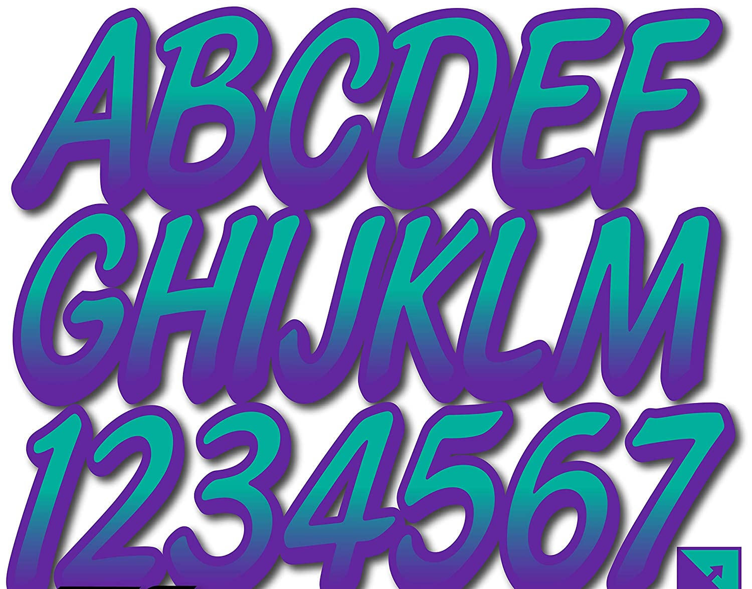 Stiffie Whipline Teal//Purple 3 Alpha-Numeric Registration Identification Numbers Stickers Decals for Boats /& Personal Watercraft