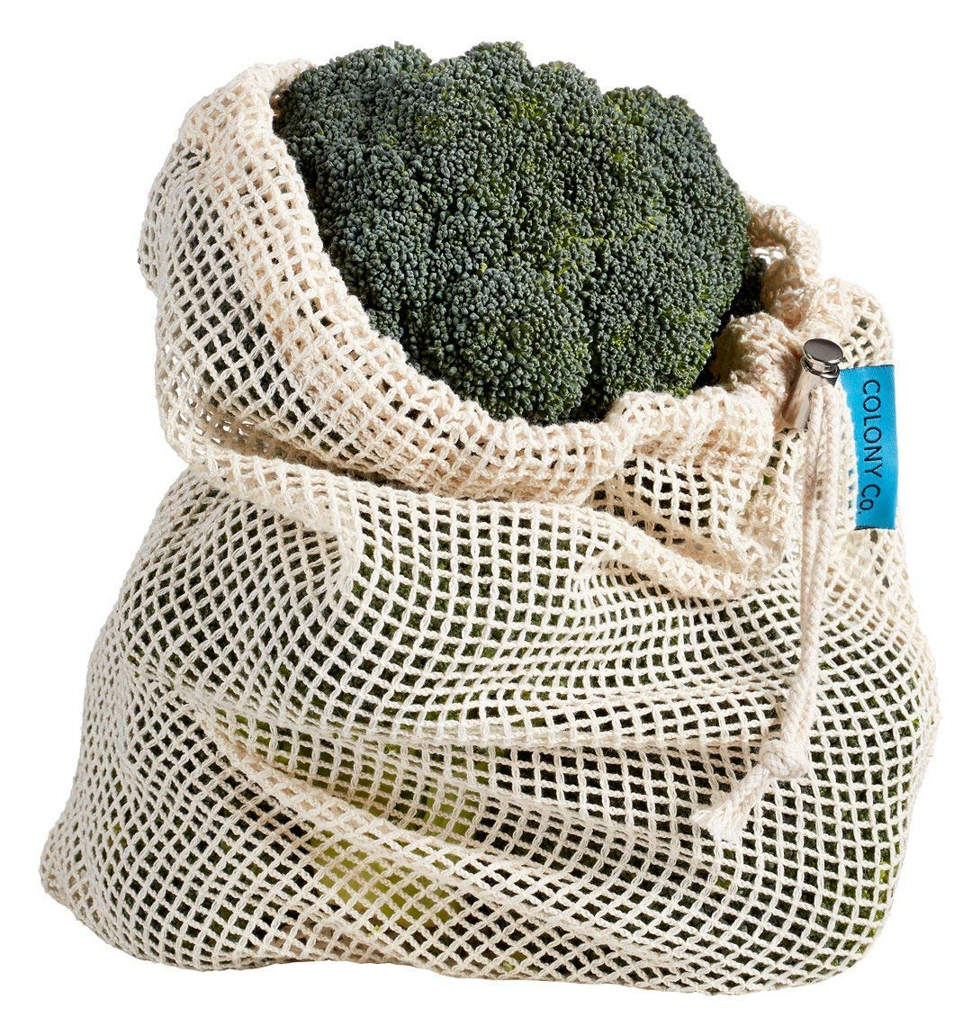 Colony Co. 10-Piece Set of Reusable Bags (6 Mesh Produce Bags & 4 Bulk Bin Bags) Cotton Materials are Biodegradable, Machine Washable, Recyclable Packaging, Tare Weight on Label, Double-Stitched Seams by COLONY CO (Image #6)