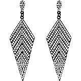 EVER FAITH Women's Crystal Elegant Vintage Banquet Multi-layered Rhombus Dangle Pierced Earrings