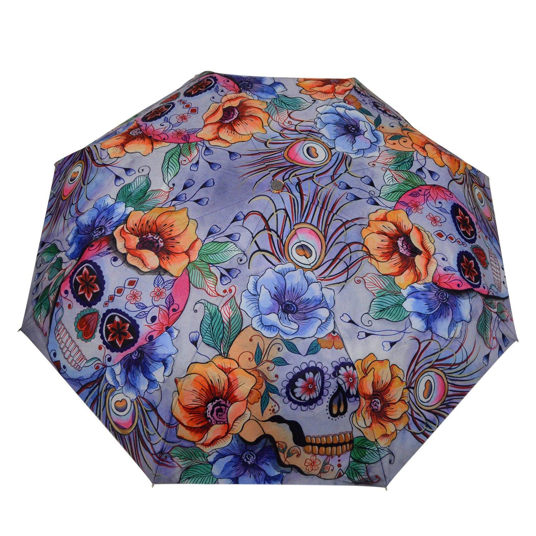 Anuschka Umbrella AUTO Open/Close | UPF 50+ Max Sun protection | 38'' Waterproof Canopy | Fits in Handbag | Windproof Flexible Fiberglass | Calaveras de Azúcar