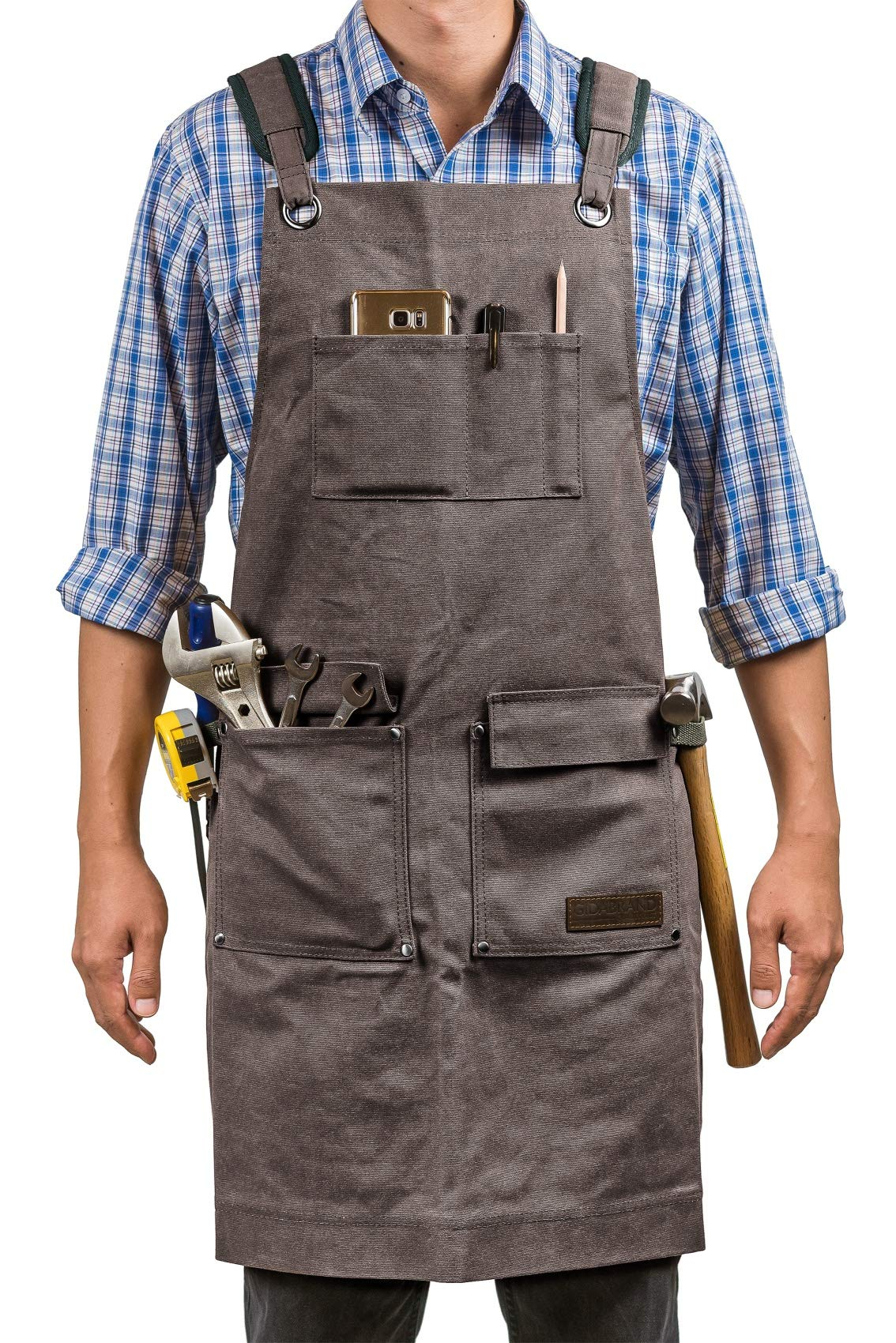 Luxury Waxed Canvas Shop Apron | Heavy Duty Work Apron for Men & Women with Pocket & Cross-Back Straps | Adjustable Tool Apron Up To XXL | Long, Thick, Water Resistant Workshop Apron in Gift Box