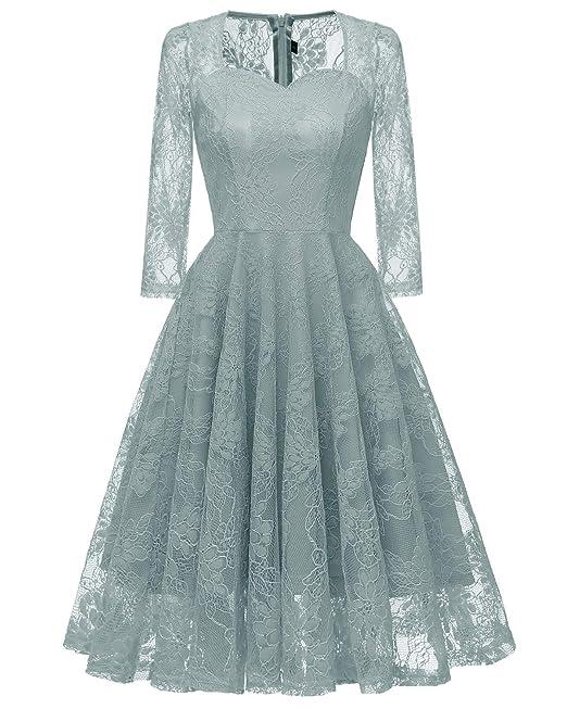 71e95eae8da5 Molly Moda Vestito Donna Midi in Pizzo Trasparente con Scollo a Cuore e  Maniche 3 4  Amazon.it  Abbigliamento