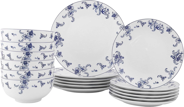 FIGULARK 18-Piece Dinnerware Set for 6, Blue Willow Ceramic, Unbreakable Kitchen Plate Bowl Set for Dinner, Salad, Dessert Microwave & Dishwasher