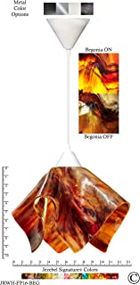 product image for Jezebel Signature Flame Pendant Large. Hardware: White. Glass: Begonia